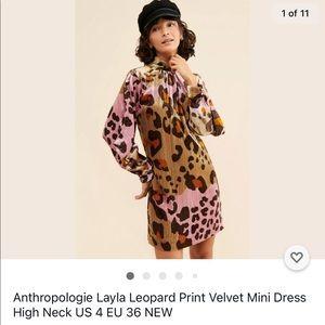 Anthropologie Layla Velvet Mini Dress